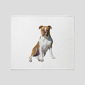 Am Bulldog 2 (Brn-W) Throw Blanket