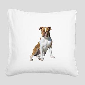 Am Bulldog 2 (Brn-W) Square Canvas Pillow