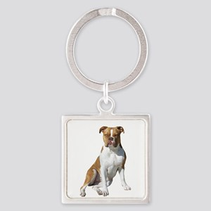 Am Bulldog 2 (Brn-W) Square Keychain