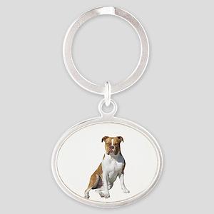 Am Bulldog 2 (Brn-W) Oval Keychain