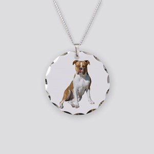 Am Bulldog 2 (Brn-W) Necklace Circle Charm