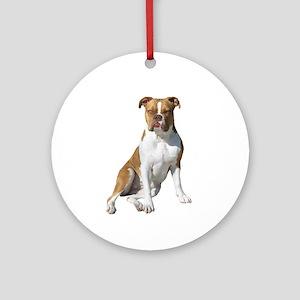 Am Bulldog 2 (Brn-W) Ornament (Round)