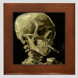 Skull of a Skeleton with Burning Cigarette Framed