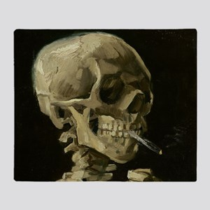 Skull of a Skeleton with Burning Cigarette Throw B
