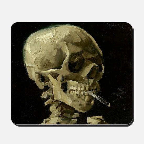 Skull of a Skeleton with Burning Cigarette Mousepa