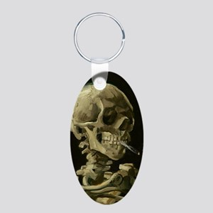 Skull of a Skeleton with Burning Cigarette Keychai