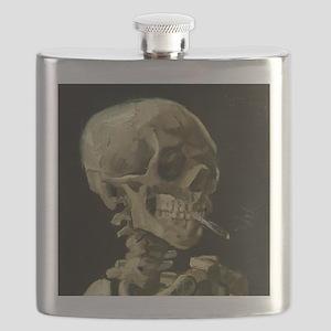 Skull of a Skeleton with Burning Cigarette Flask