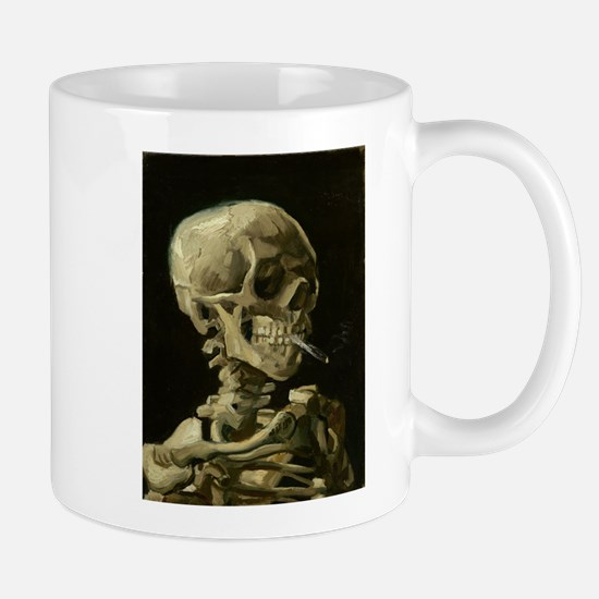 Skull of a Skeleton with Burning Cigarette Mugs