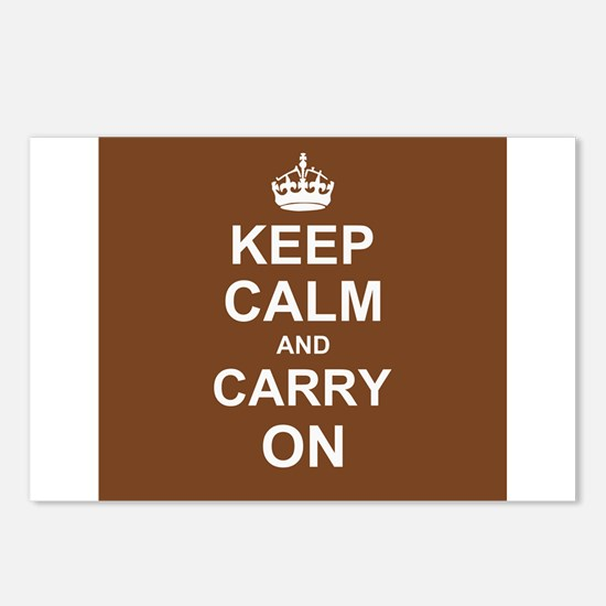 Keep Calm and Carry On - brown Postcards (Package