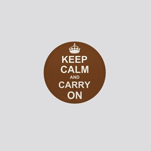 Keep Calm and Carry On - brown Mini Button