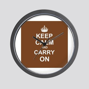 Keep Calm and Carry On - brown Wall Clock