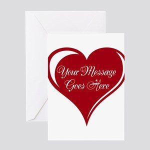Your Custom Message in a Heart Greeting Cards