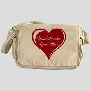 Your Custom Message in a Heart Messenger Bag