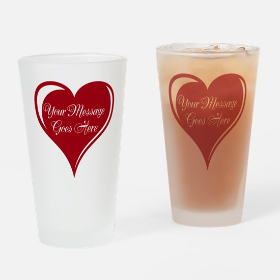 Your Custom Message in a Heart Drinking Glass