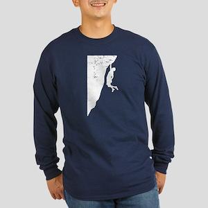Rock Climber Cliff Hanger Long Sleeve Dark T-Shirt