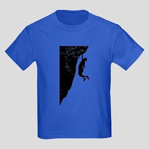 Rock Climber Cliff Hanger Kids Dark T-Shirt