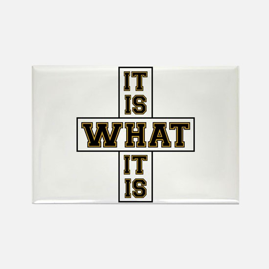 It Is What It Is Black and Gold Rectangle Magnet