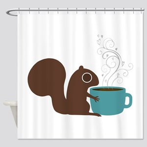 Coffee Squirrel Shower Curtain