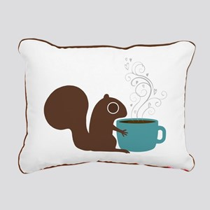 Coffee Squirrel Rectangular Canvas Pillow