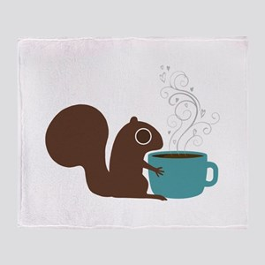 Coffee Squirrel Throw Blanket