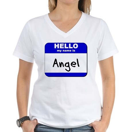 hello my name is angel Women's V-Neck T-Shirt
