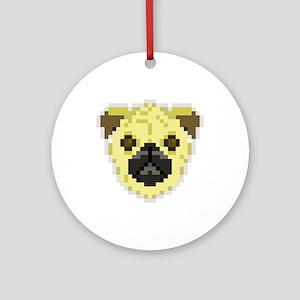 Pixel Pug Ornament (Round)