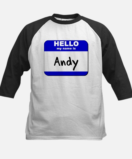 hello my name is andy Kids Baseball Jersey