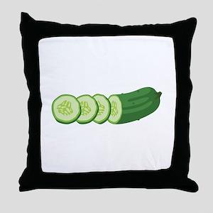 Sliced Cucumber Vegetable Throw Pillow