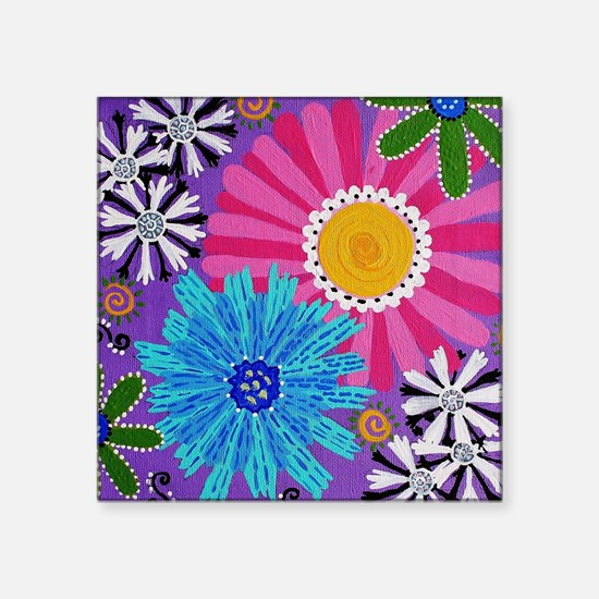 """flower brooches of the 60's Square Sticker 3"""" x 3"""""""
