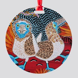 Blue Footed Booby Dance Round Ornament