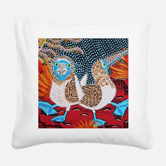 Blue Footed Booby Dance Square Canvas Pillow
