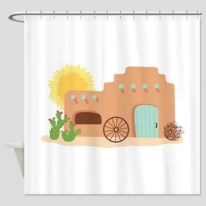 Adobe House Desert Shower Curtain