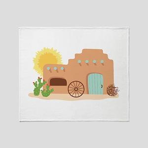 Adobe House Desert Throw Blanket