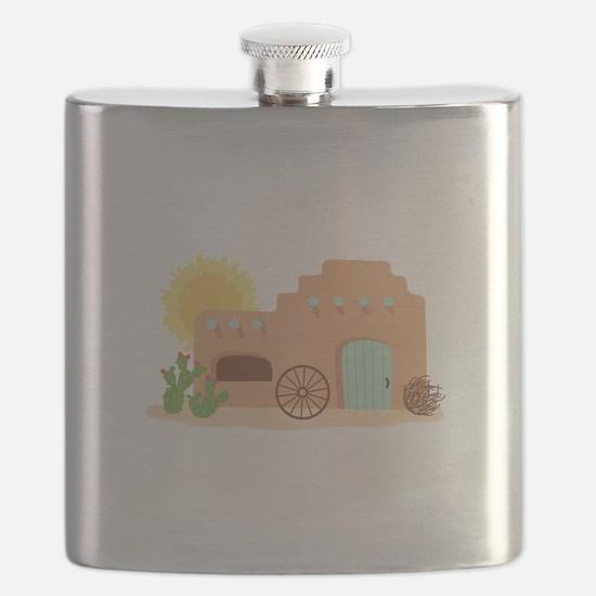 Adobe House Desert Flask