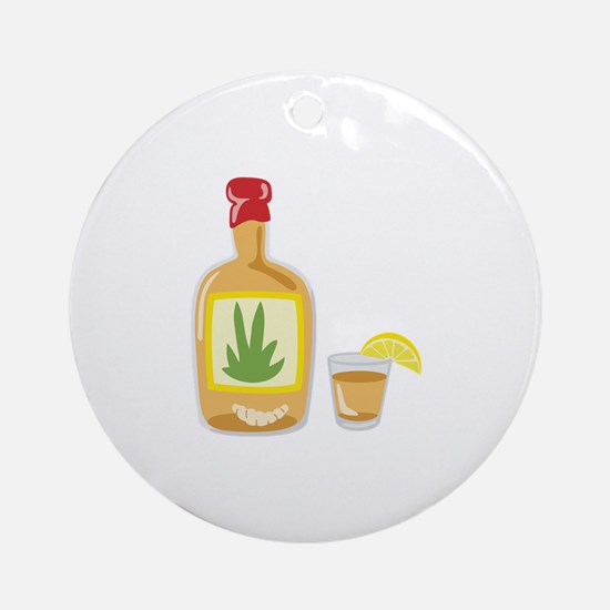 Tequila Bottle Shot Ornament (Round)