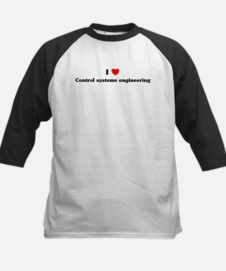 I Love Control systems engine Kids Baseball Jersey