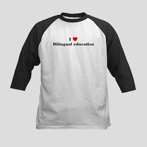 I Love Bilingual education Kids Baseball Jersey