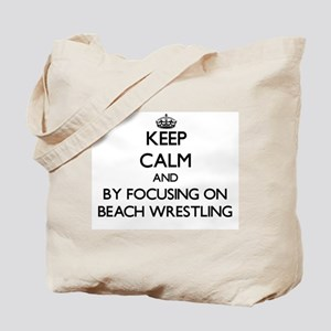 Keep calm by focusing on Beach Wrestling Tote Bag