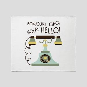 Bonjour! Ciao! Hola! Hello! Throw Blanket