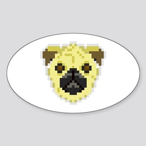 Pixel Pug Sticker (Oval)