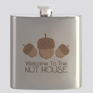 Welcome To The Nut House Flask