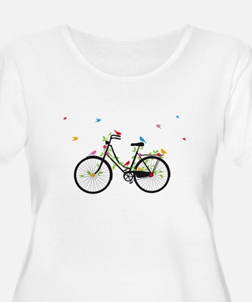 Old vintage bicycle with flowers and colorful bird
