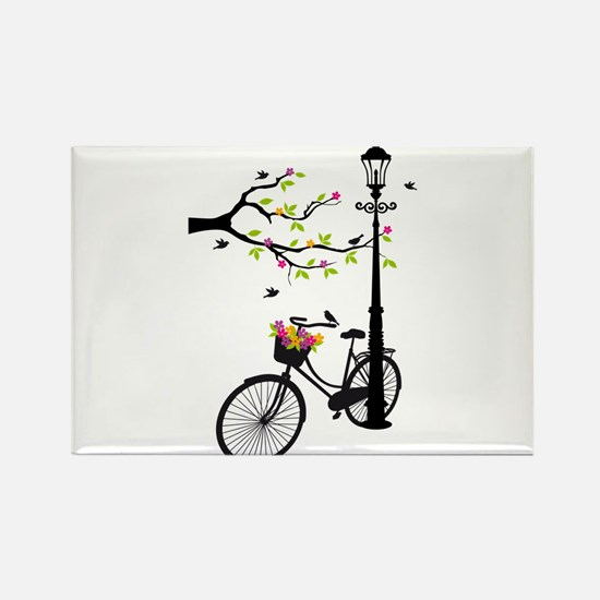 Old vintage bicycle with tree Magnets