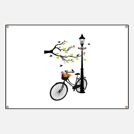 Old vintage bicycle with tree Banner
