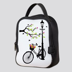 Old vintage bicycle with tree Neoprene Lunch Bag