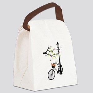 Old vintage bicycle with tree Canvas Lunch Bag