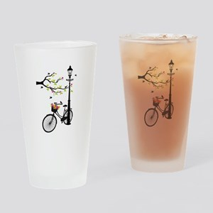 Old vintage bicycle with tree Drinking Glass