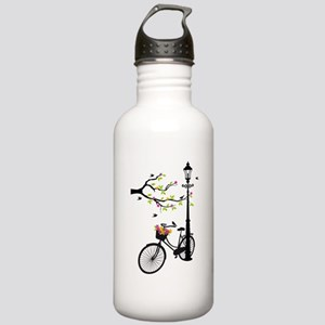 Old vintage bicycle with tree Water Bottle