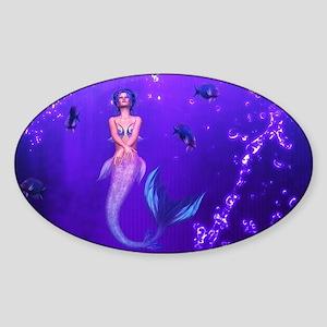 Rainbow Mermaid Sticker (Oval)