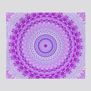 Pink and Pastels Mandala Throw Blanket